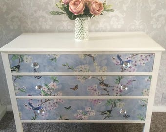 Unique Vintage Upcycled Chest of Drawers / Dresser, Blue with Birds and Floral Design. Shabby and Chic Glass Handles