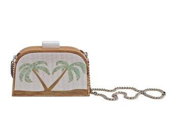 "Handmade wood clutch - ""Palm Tree Clutch"""