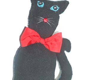 Unique Black Cat with Red Ribbon/Hand-made Toy/Stuffed Animal Soft Plushies/Children's Gift