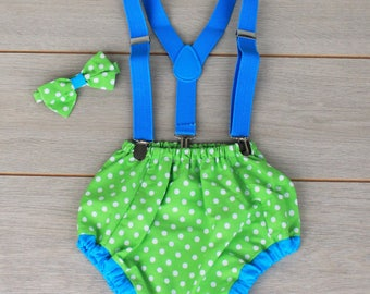 Polka Dot Cake Smash Outfit - Green & Blue