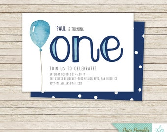 Birthday Invite, 1st Birthday Party, First Birthday Invitation, Boy's Birthday Party Pack, Printable Party Pack, One Birthday, Balloon