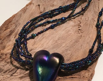 Artisan Glass Heart Pendant in Blue Iris on a Hand Beaded Necklace with a Sterling Silver Clasp