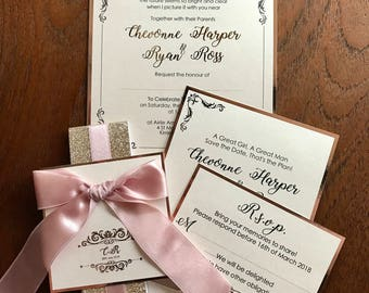 Rose Gold Bow Pocket Fold Wedding Invitation Simple Beautiful Dample by The Bow Invitations