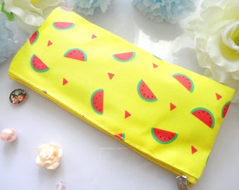 Watermelon Fabric Stationery Case- Blue, Pink, Yellow Pencil Eraser Case