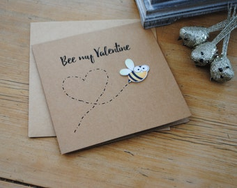 Cute, handmade Valentines card - Bee my Valentine - a bit different