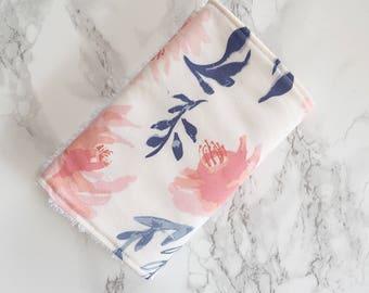 Watercolour Floral Burp cloth, baby burp cloth, burp rags, flower burp cloth, baby accessories, baby girl burp cloth, baby shower gift