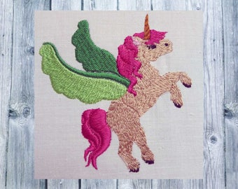 Embroidered embroidery, Unicorn, Unicorn, flying Unicorn, 13 x 18, mythical creatures, fairy tale