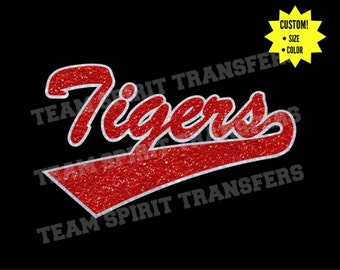 Tigers Swoosh Glitter Iron-On Transfer! - Custom Bling Vinyl Transfer, Applique - DIY Sparkle Shirt! - Team School Spirit Wear!
