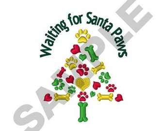 Waiting For Santa Paws - Machine Embroidery Design