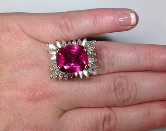 Estate 13.81 CTW Natural Pink Tourmaline Diamond Ring 18k white gold!
