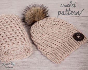 Crochet Hat PATTERN No.42 - Uni Women set, Winter Crochet Pattern, Winter Hat, Winter Infinity Scarf