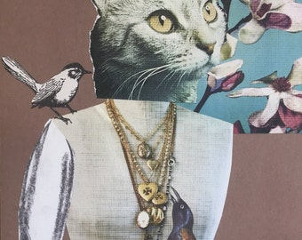 8x10 Giclee Print Crowned Kitty Cat Collage with Birds