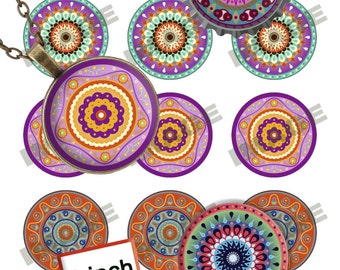 """Digital Images """"Mandalas 1"""" for Jewelry Making, Bottlecaps, Party Supplies (300dpi)"""