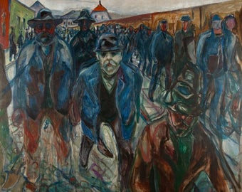 Workers on their Way Home by Edvard Munch 1914 | Giclée Fine Art Archival Pigment Print; Art Poster, Edward Munch Fine Art Print Giclée Art