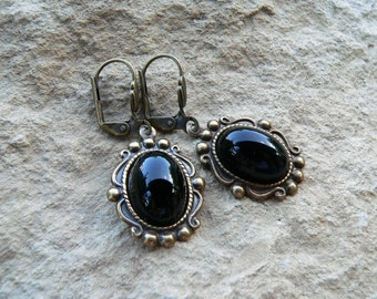Earrings * Queen of the night * black, antique brass, Gothic, Victorian, Dark Lady