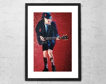 Angus Young - AcDc - Rock Poster - Ac/Dc Poster - Ac/Dc Print - Rock and Roll Art - Rock n Roll Decor - ACDC Decor - Heavy metal - Music Ar