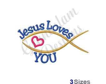 Jesus Loves You - Machine Embroidery Design