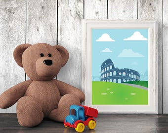 Architecture Nursery Print, Rome, Wall Art, Kids Art, Nursery Decor, Printables
