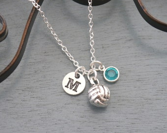 Volleyball Necklace, Personalized Volleyball Necklace, Silver Volleyball Necklace, Initial Necklace, Volleyball Player Gifts, Volleyball