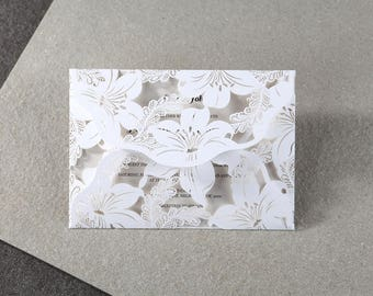 Lilly Laser Cut Fold Out Wedding Invitation, Die Cut & Embossed - BH3579