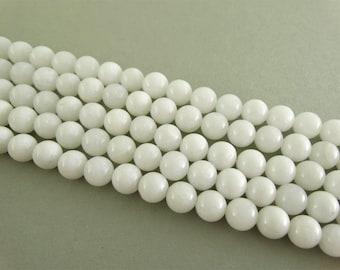 8 mm white jade beads white beads 16 inch full strand 8 mm white stone bead 8mm round bead 8mm jade supply handmade supply wholesale stones