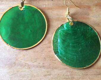 Green Shell earrings