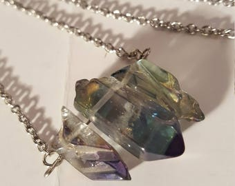 Long Smokey Blue Quartz Crystal Point Necklace