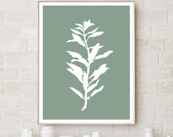 Plant Silhouette on Green Background - Printable Artwork - Download and Print it Yourself - Watercolor Wash