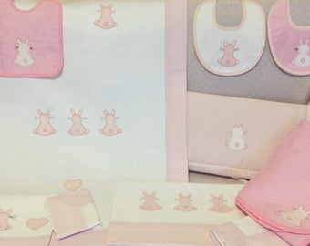 Stylized Bunny Cot and bed sheets