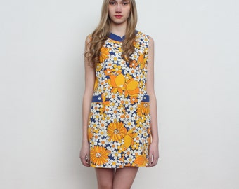 Vintage Mini Yelow Multi Color Dress, Robe/ Size 42