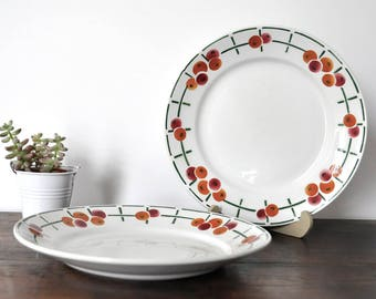 2 St-Amand dessert plates, art deco plates, antique ceramic plates, bicolor cherry design