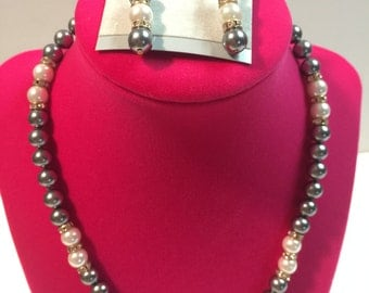 SALE! Gray and White Pearl Necklace