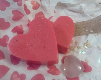 Snow Cherry Goat's Milk Soap hearts