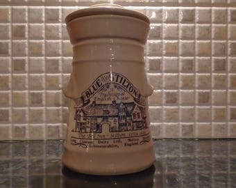 Vintage Kitchen Storage Jar, Ceramic Lidded Jar with Old Advertising for Stilton Cheese - Blue and White China London Pottery