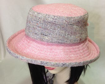 Coral Pink Silk/linen Cloche Summer Hat
