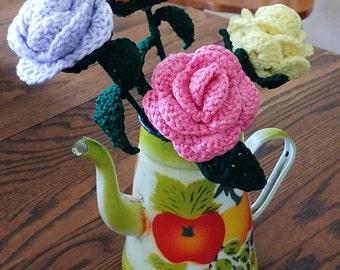 Crocheted Stem Rose