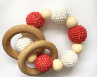 Natural wooden teething toy - red/white