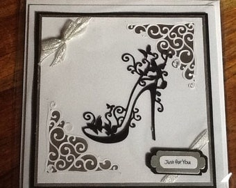 Handmade card in black white and silver