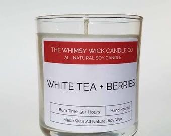 White Tea & Berries 9 oz Tumbler, Soy Candle, Handmade, Candle, Tumbler