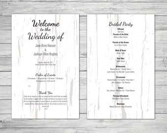 Modern Wood Texture Wedding Program