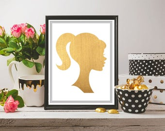 Gold Leaf Barbie, Silhouette, Wall Art, Printable Art, Digital Download Art