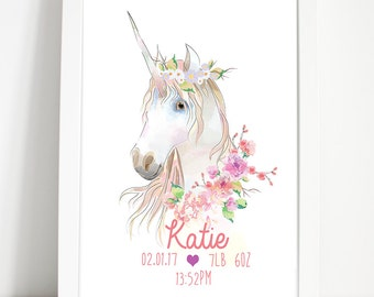 Unicorn print, Nursery wall print,  Personalised name print, Birth stat print, Girls print, Bedroom decor, Newborn gift, Christening gift