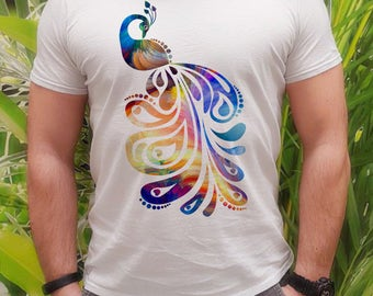 Peacock t-shirt - Beautiful tee - Fashion men's apparel - Colorful printed tee - Gift Idea
