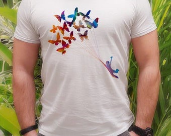 Butterfly balloons t-shirt - Kite tee - Fashion men's apparel - Colorful printed tee - Gift Idea