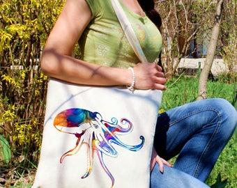 Colorful octopus tote bag -  Octopus shoulder bag - Fashion canvas bag - Colorful printed market bag - Gift Idea