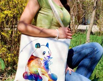 Cute panda tote bag -  Panda shoulder bag - Fashion canvas bag - Colorful printed market bag - Gift Idea