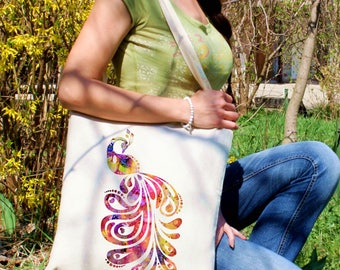 Peacock tote bag -  Peacock shoulder bag - Fashion canvas bag - Colorful printed market bag - Gift Idea