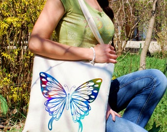 Blue butterfly tote bag -  Butterfly shoulder bag - Fashion canvas bag - Colorful printed market bag - Gift Idea