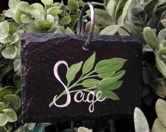 Sage Slate Herb Garden Marker - Stake Included