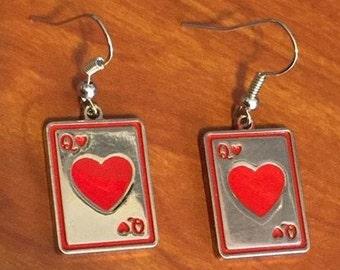 Queen of Hearts Earrings, Alice in Wonderland Fairy Tale Jewlery